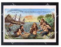 Historic Ayres hair vigor mermaid Advertising Postcard