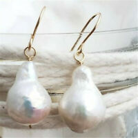 13-16mm huge white Baroque South Sea pearl earring elegant classic personality