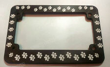 MOTORCYCLE LICENSE FRAME WITH PAW PRINTS dog cat License holder tag Plate Frame