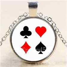 Blackjack Poker Card Cabochon Glass Tibet Silver Chain Pendant Necklace