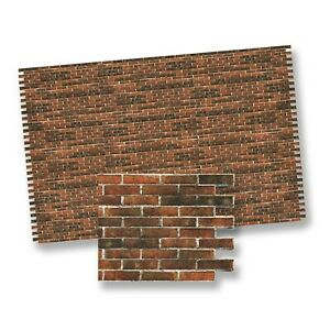 1:12 Scale Dark Embossed Brick Wallpaper 48.5cm x 31cm Tumdee Dolls House 647