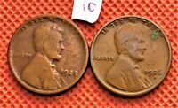 1922-D, AND 1926-S KEY DATE WHEAT CENTS COINS PENNY #10