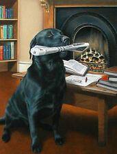 Nigel Hemming EVENING DELIVERY Labrador Retrievers Black Labs Fireplace Fire Art