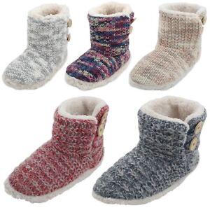 Slumberzzz Ladies Chunky Knit Button Bootie Slipper