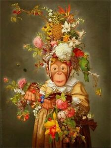 """Monkey,parrot,flower,Hand-painted Animal Art Oil painting Wall Decor Canvas 36"""""""