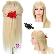 "100% Real Human Hair Practice Hairdressing 18"" Training Head Mannequin Doll UK"