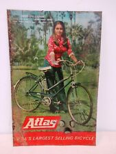 Vintage Atlas Bicycle Advertising Sign Depicting Bollywood Actress Nitu Sing *F