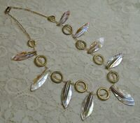 VINTAGE MOTHER OF PEARL SHELL LEAF DROP BEADED BOHO BEACH NECKLACE 21 INCH