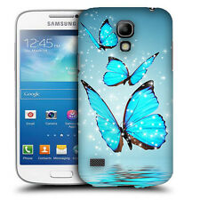 CUSTODIA COVER per SAMSUNG GT i9190 GALAXY S4 MINI TPU BACK CASE FARFALLE AZZURR
