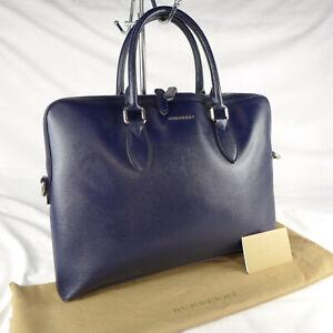Authentic Burberry Navy Blue Leather Medium Shoulder Bowler Tote Handbag VGC