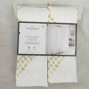 "Threshold Light Filtering Curtains 2 Panel Set 84"" x 40"" Tan Kana Rod Pocket New"