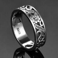 Vintage 925 Silver Carve Flower Design Hollow Wedding Halo Ring Wholesale !!