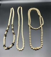 Lot Of 3 Long Vintage Faux Pearl Necklaces Gold Toned Accent Black Beads