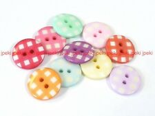 "Lot of 70 Gingham Buttons 11/16"" (18mm) 10 Colors B43"