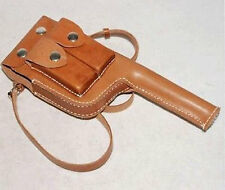 MILITARY WW2 GERMAN MAUSER C96 BROOMHANDLE LEATHER HOLSTER WITH STRAPS -68126