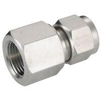 ACERO INOXIDABLE 316 DOBLE CASQUILLOS - Conector hembra 1/4 Od 1/4 BSPP 1-07967