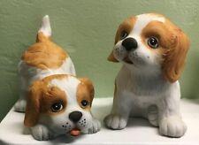 """Vintage 2 Springer Spaniel Homco Puppy Dog Figurines #1407 Porcelain 3"""""""