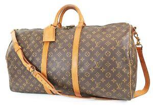 Auth LOUIS VUITTON Keepall Bandouliere 55 Monogram Canvas Duffel Bag #38185