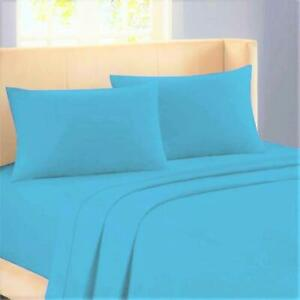 6 PC Sheet Set Egyptian Cotton 1000 Thread Count UK Super King Turquoise Solid