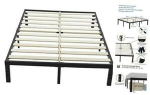 Bed Frame 16 inch Metal Platform with Wooden Slat California King 16.0 Inches