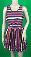 I Love H81 Women's Size Multi Colored Striped Knee High Sleeveless Dress Size M