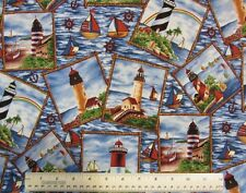 1/2 yard cotton quilt fabric Framed Lighthouses nautical sail boats home decor