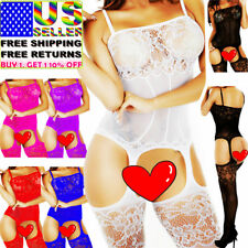 Women Bodystocking Body Stockings Bodysuit Lingerie Sleepwear Mesh Lace Bodydoll