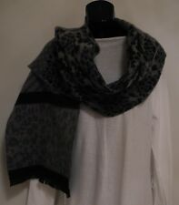 WOMEN'S GREY SHADES/BLACK MULTI-PATTERN FRINGED WOOLLY SCARF NWOT!