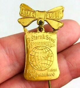 Antique B. Sterns & Sons Atlas Flour Lapel Stick Pin Medal Milwaukee Baking  *K2