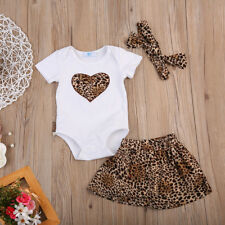 Cute Newborn Baby Girl Tops Romper Leopard Skirt Dress 3Pcs Outfits Set Clothes