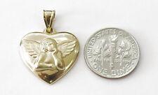 14K Yellow Gold Thinking Angel Heart Charm Pendant ~1.4g~ #24