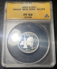 2001 S Silver NEW YORK State Quarter 25C Proof ANACS PF 69 Deep Cameo Rare Coin
