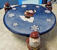 Beautiful Large Home Interior Christmas Santa Pedestal Cake Plate