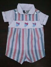 Vtg Peek-a-Babe Baby Boy Romper 6-9M Blue Red Striped Seersucker Fish 2 Piece