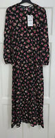 ZARA AW19 LONG FLOWING FLORAL PRINT PUFF SLEEVES MIDI DRESS SIZE M BNWT RRP£50