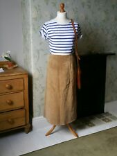 ladies suede skirt size 14 vintage clothing leather neutral beige brown midi uk