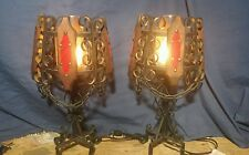 Vintage Pair Gothic Midieval Wrought Iron Wood Scrollwork Chains Table Lamps