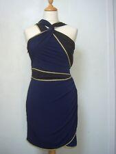 1971 Reiss bodycon dress S GC dark blue/black/gold braid edgings