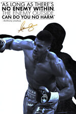 Anthony Joshua powerful quote photo print Poster - pre signed - No enemy within