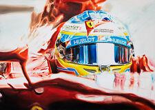 Fernando Alonso Ferrari Helmet Hublot Visor Cockpit Formula 1 Art Print Poster