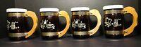 Set of 4 Vintage Siesta Ware Amber Glass Cowboy Western Themed Beer Mugs Lids