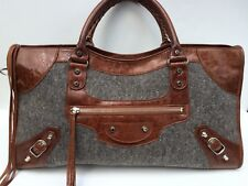 BALENCIAGA Brown Cognac Leather Grey Wool Part Time City Bag Two Way