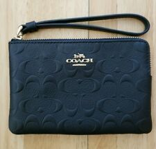 Coach F67555 Corner Zip Wristlet in Signature Leather Black/gold
