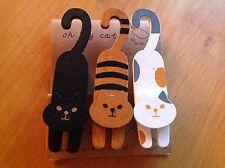 3x Deko/ Memo Holz Clip - Black, Striped, White Cats - Wooden Peg, Hanging Decor