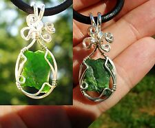 Handmade Green Chrome Diopside Sterling Silver Reiki Pendant - Love - RELAXATION
