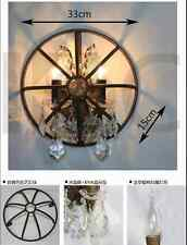 "Foucault's Orb Crystal Sconce 13"" - Rustic Iron Wall Lamp Restoration Light"