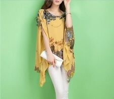 New Sexy Women Chiffon Floral Printed Blouse Batwing Sleeve Shirt Tops Plus Size