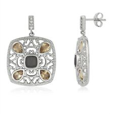 Smoky Quartz and Citrine Earrings New listing Sterling Silver Square with Center