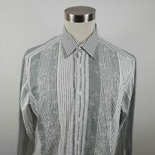 Bugatchi Uomo Mens Cotton LS Button Down Black White Striped Dress Shirt Large