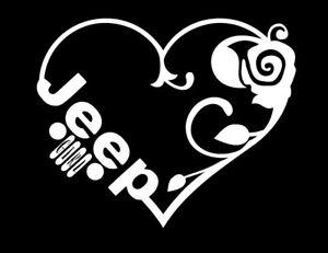 """Jeep Girl Rose Heart Sticker 6"""" Die Cut Vinyl Decal White Wrangler Cherokee"""
